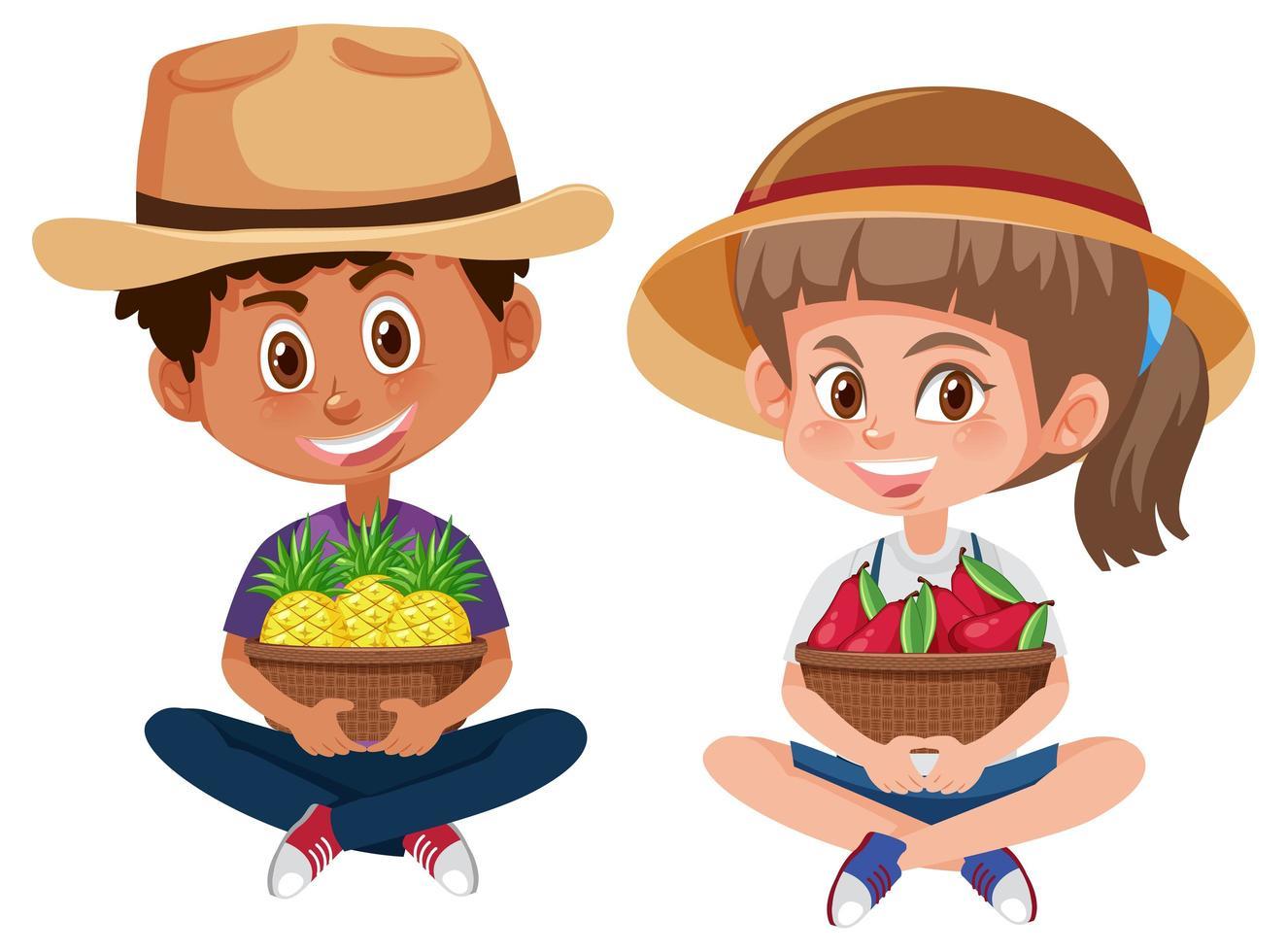 kinderen met fruit in manden vector