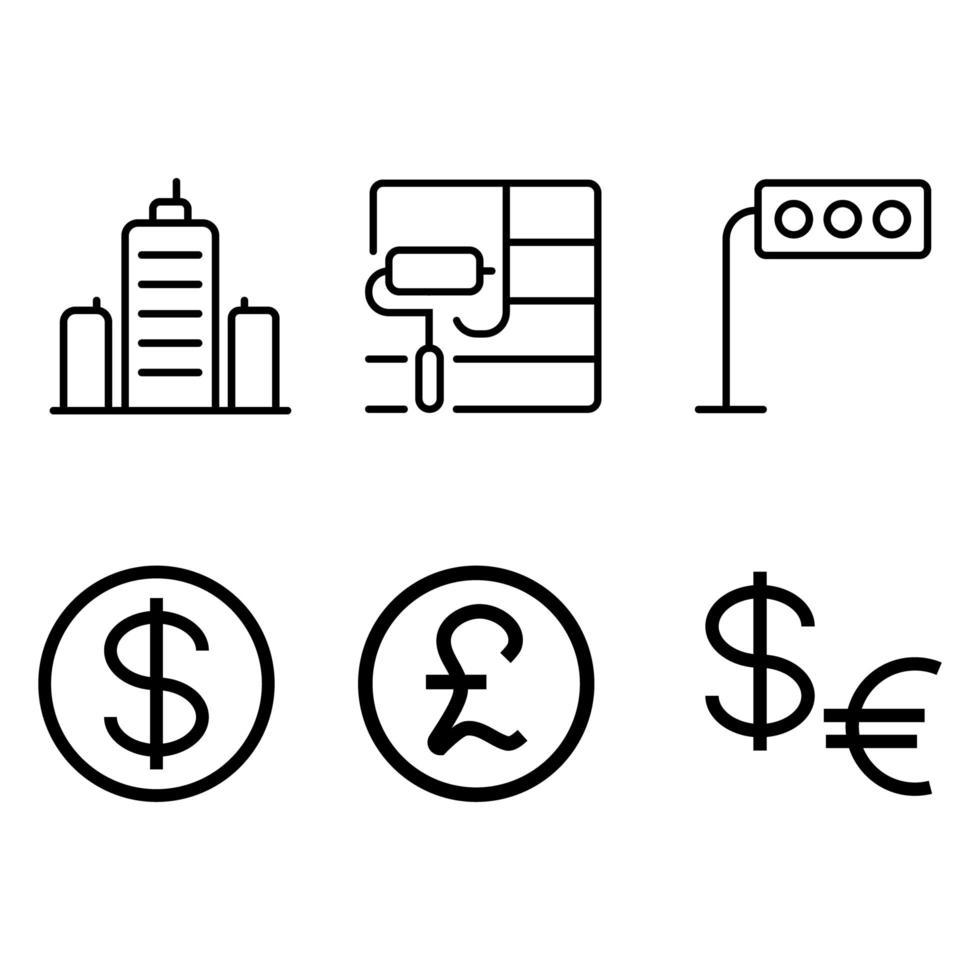 bouw en valuta icon set vector