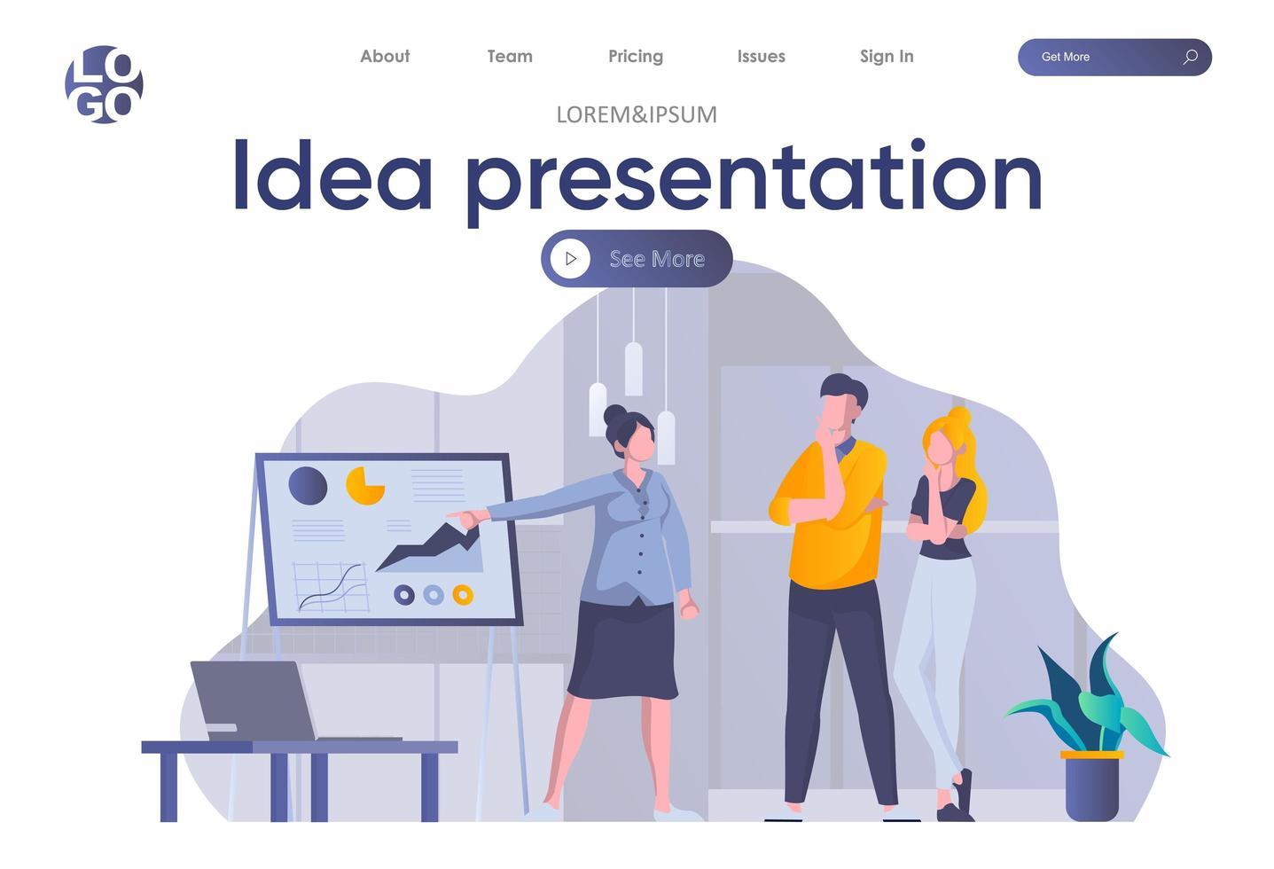 idee presentatie bestemmingspagina met koptekst vector