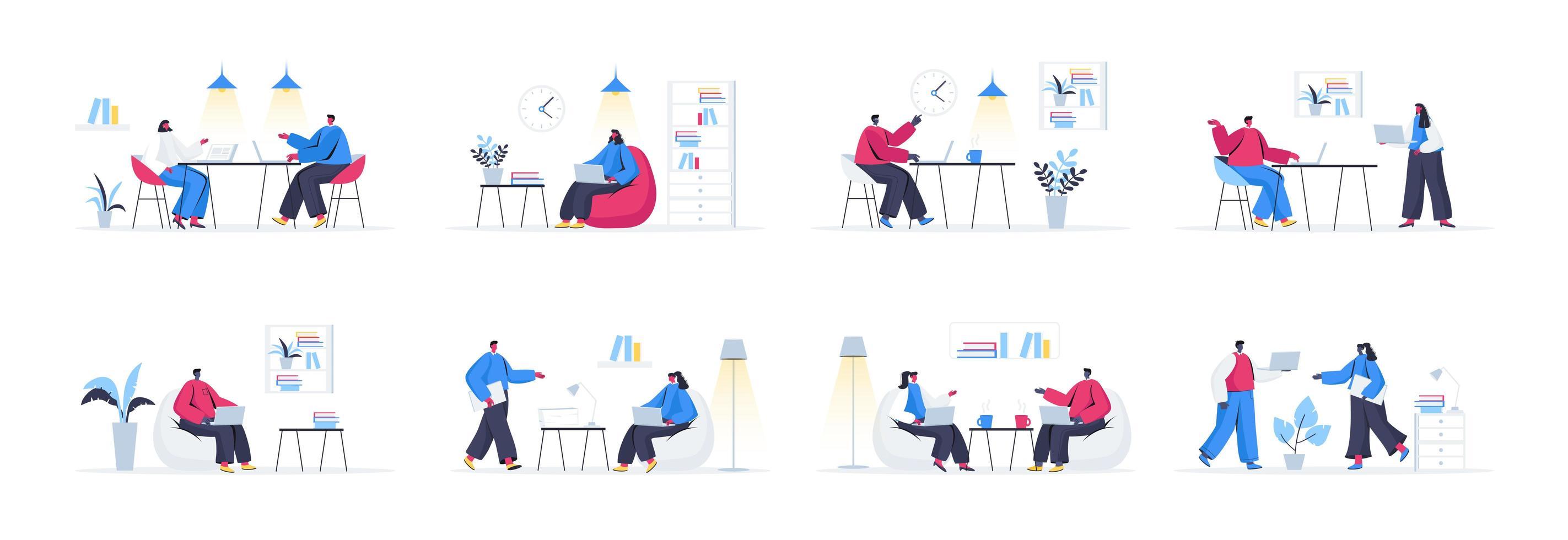 bundel van coworking office-scènes vector