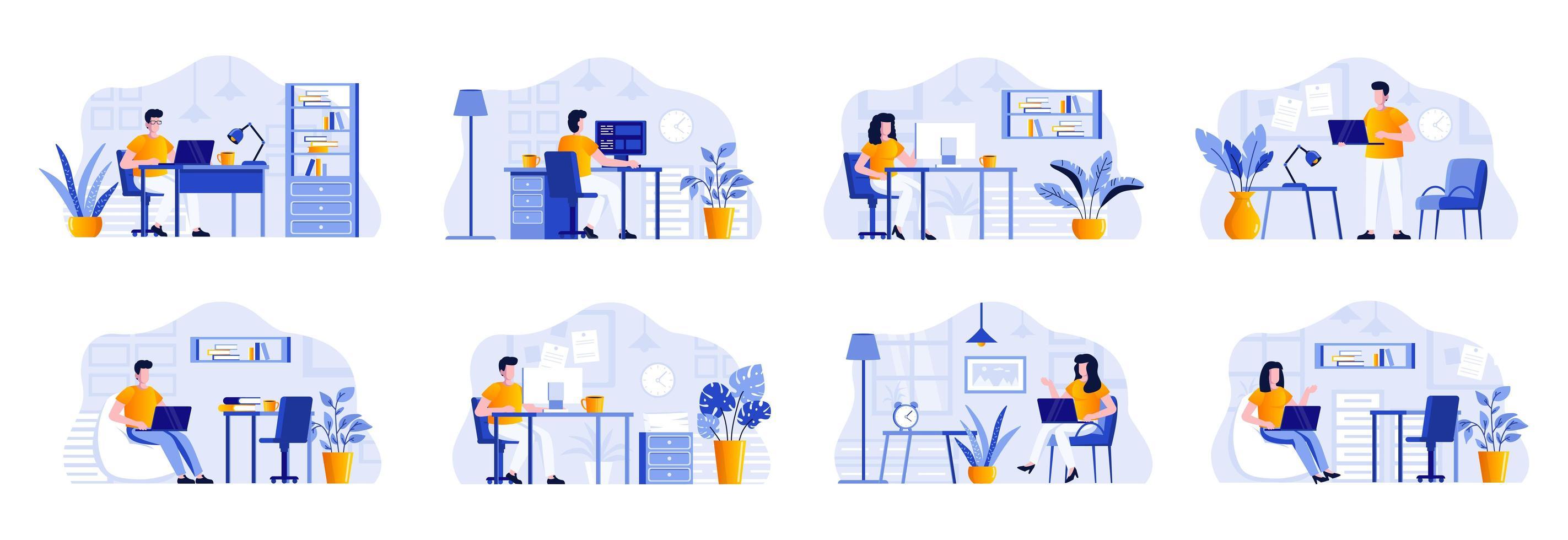 coworking office-bundel met mensen vector
