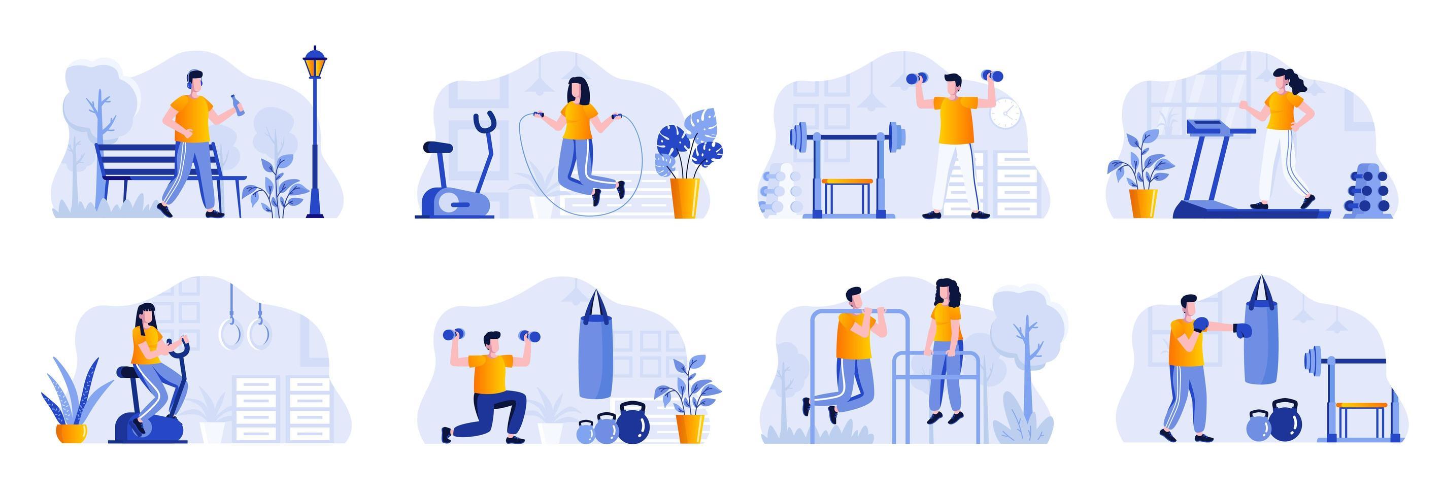 fitness scènes bundel met personagekarakters vector