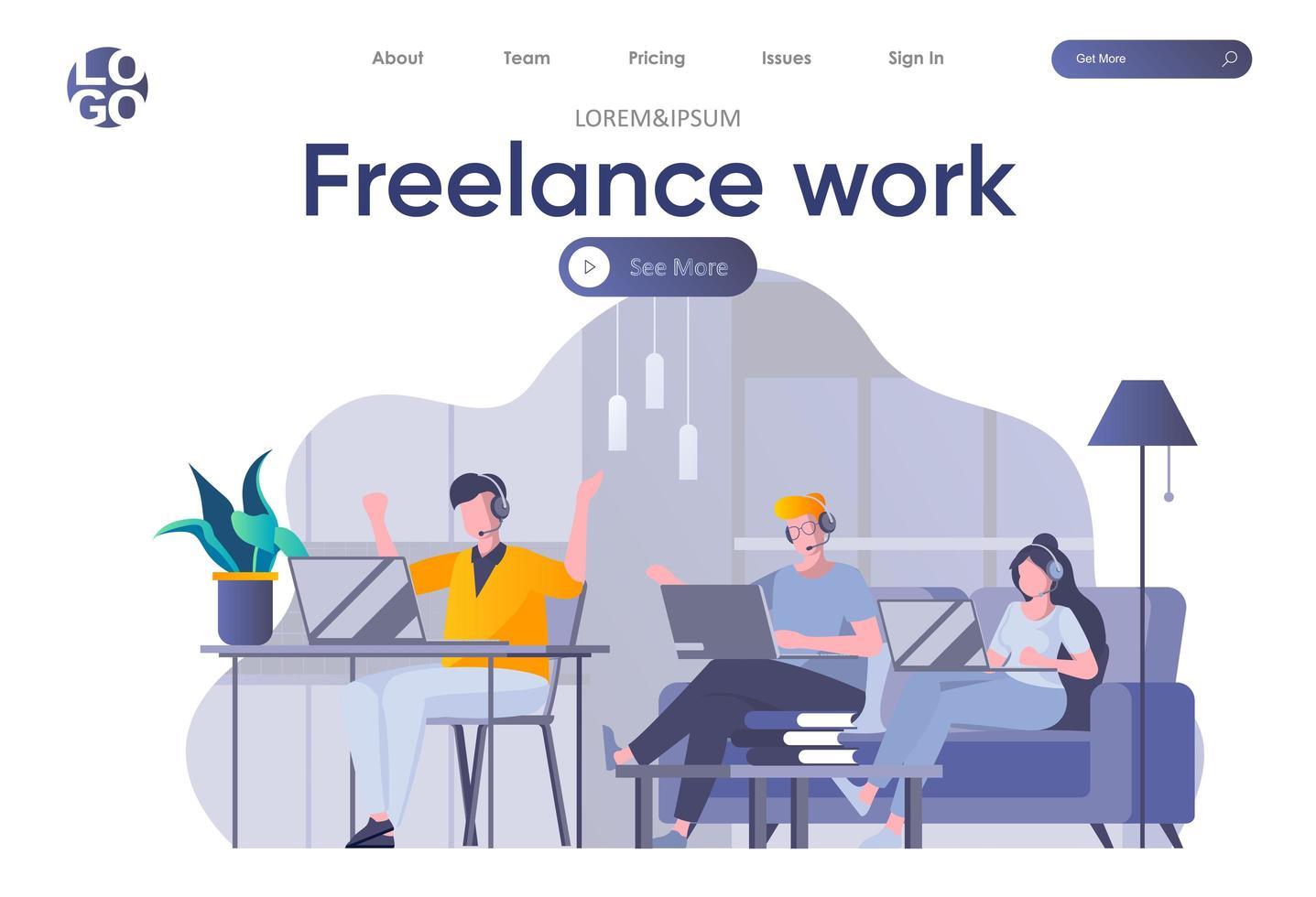 bestemmingspagina voor freelancers met koptekst vector