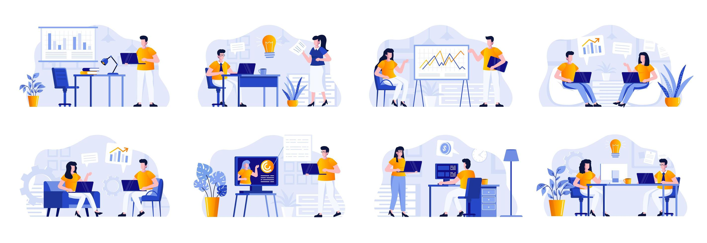 zakelijke bijeenkomst scènes bundelen met mensen vector