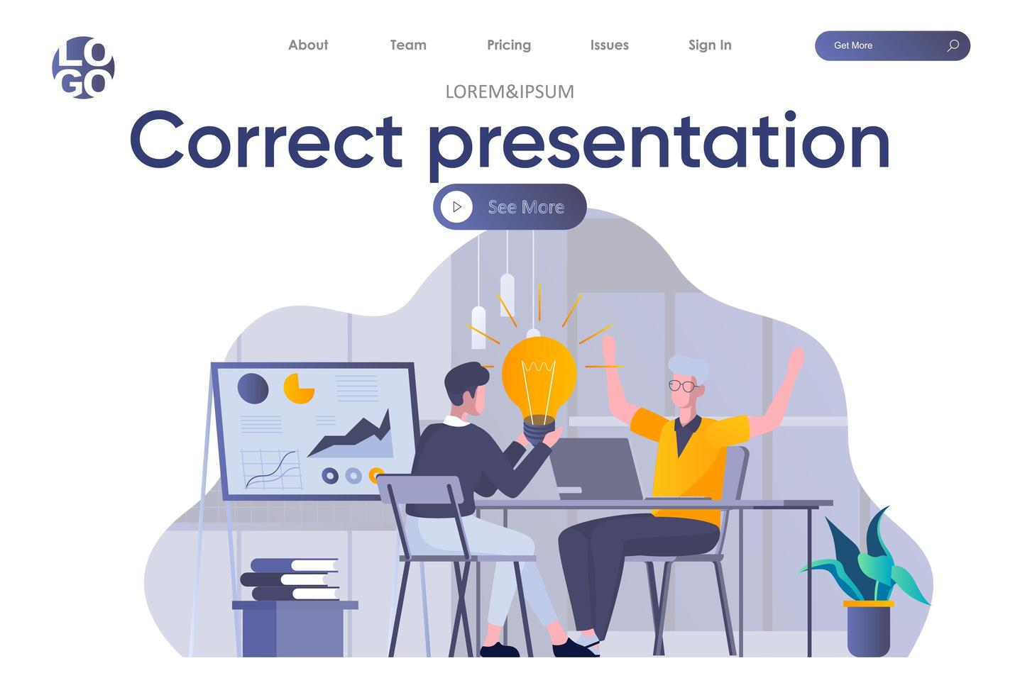 juiste presentatie-bestemmingspagina met koptekst vector