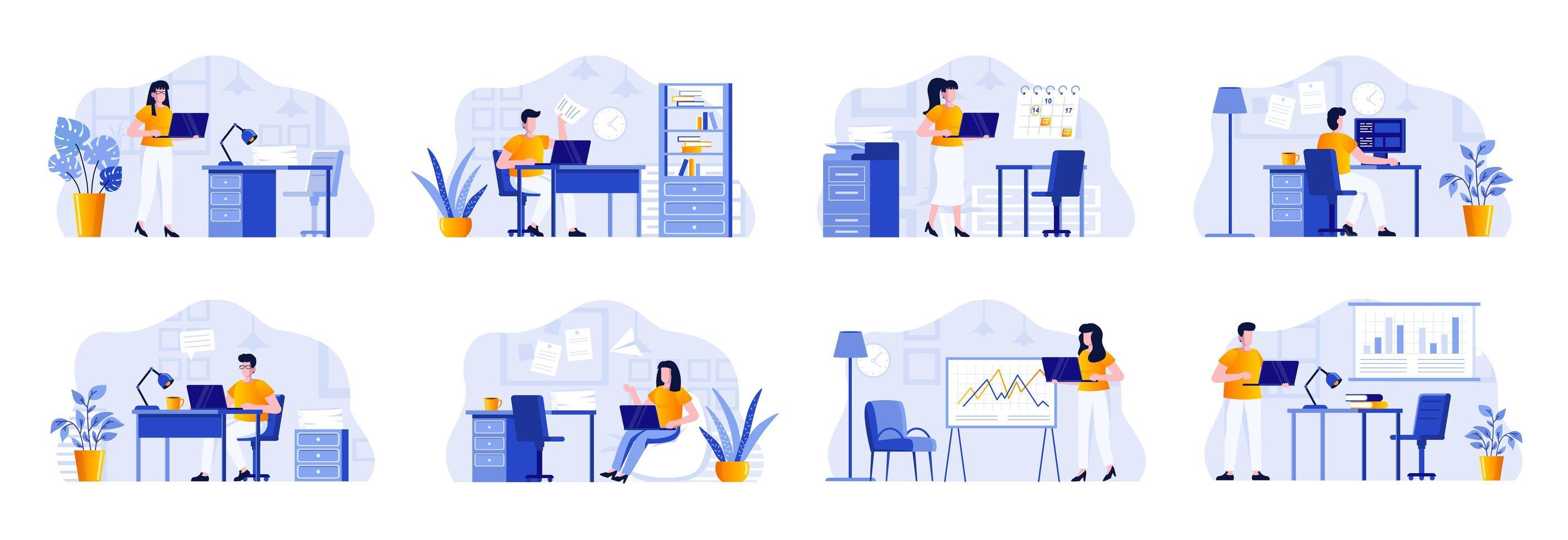 office management scenes bundelen met mensen vector