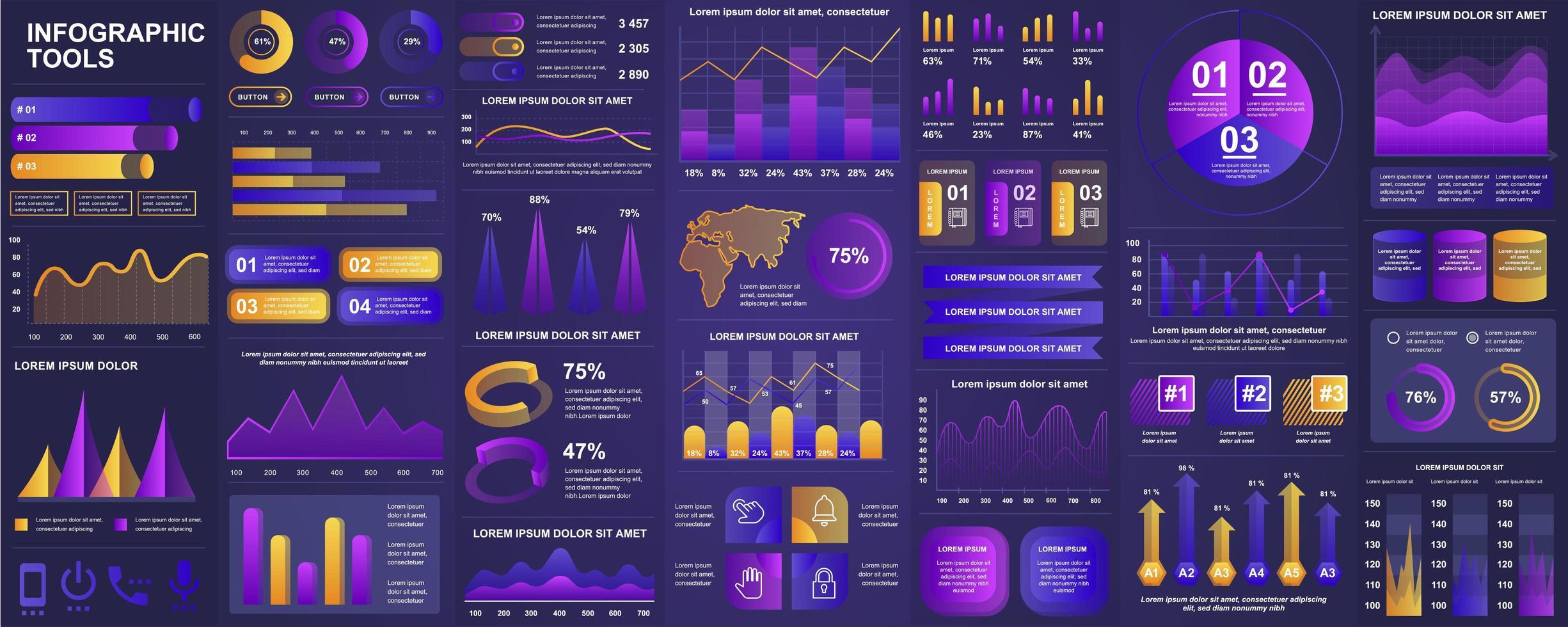 infographic, ui, ux, kit-elementenbundel vector