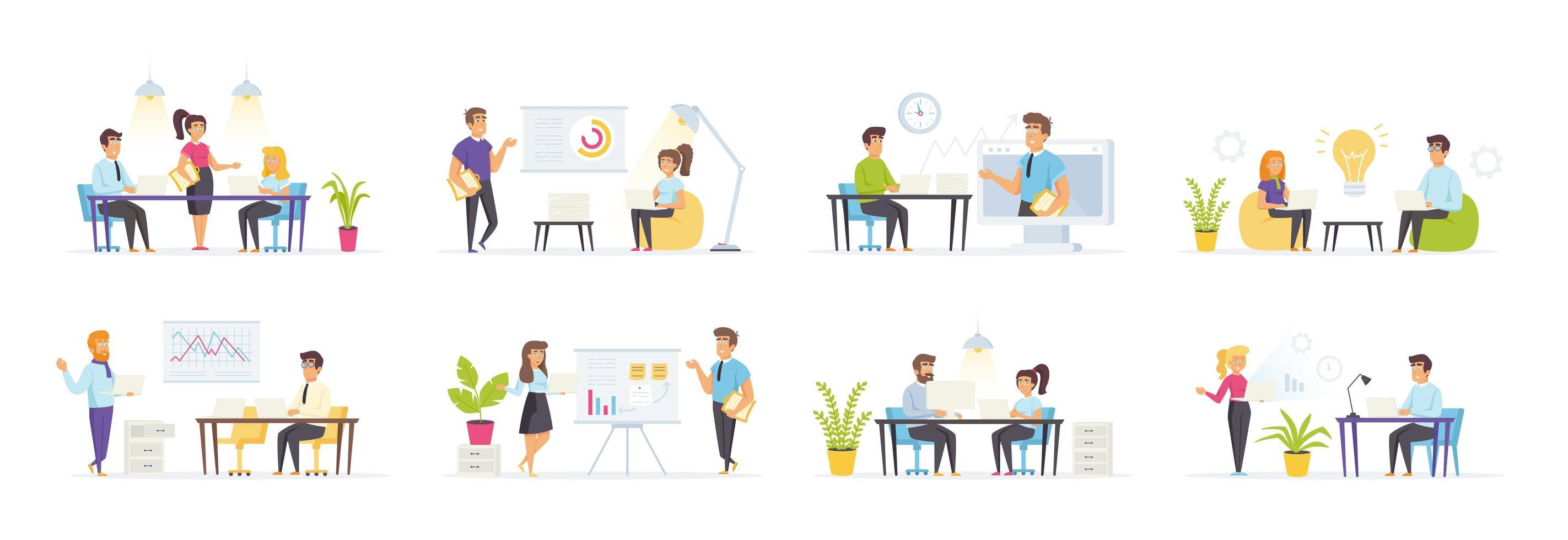 zakelijke bijeenkomst met mensen in verschillende situaties vector