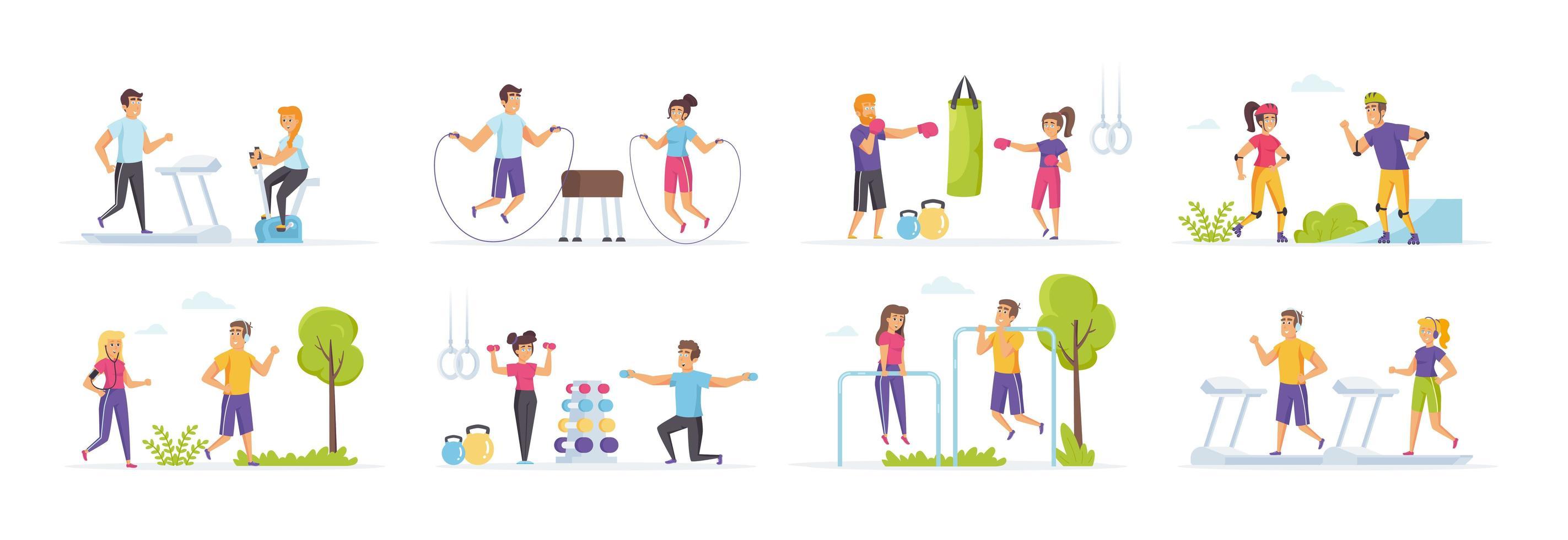 outdoor fitness set met mensen in verschillende scènes vector