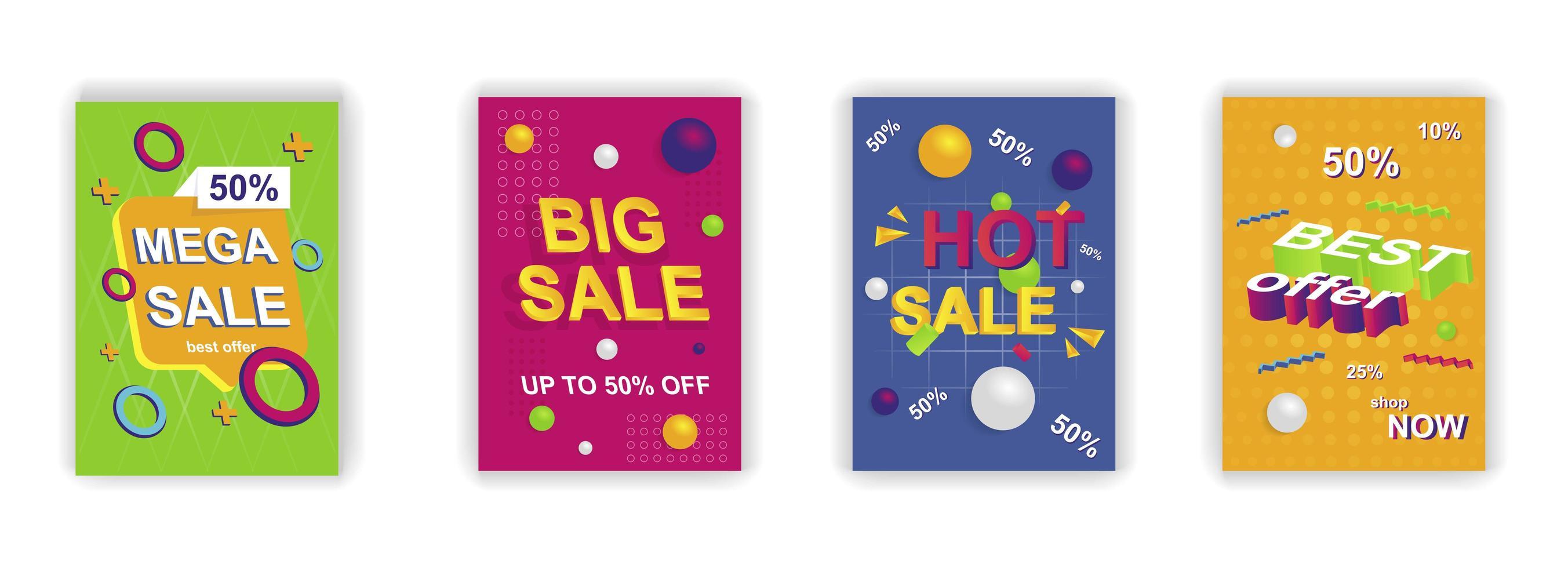 abstracte vormen verkoop poster sociale media verhalen ontwerp vector