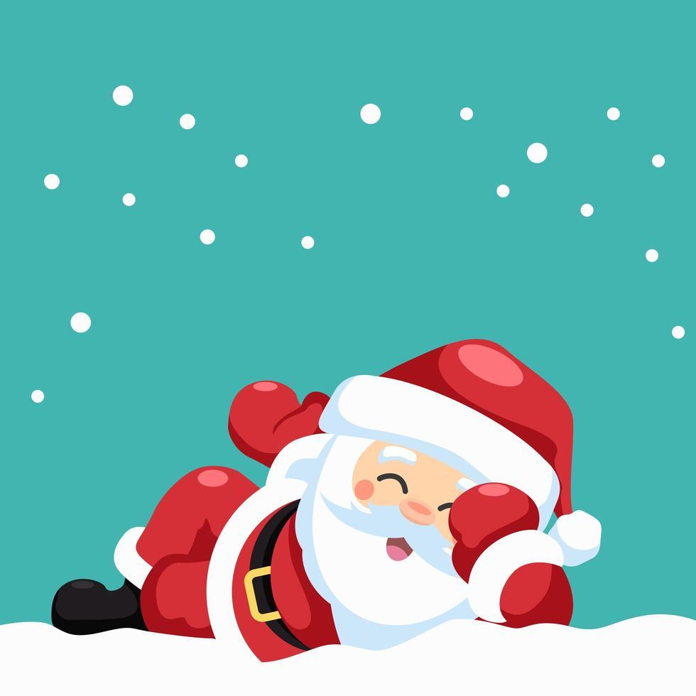 gelukkige kerstman liggen vector