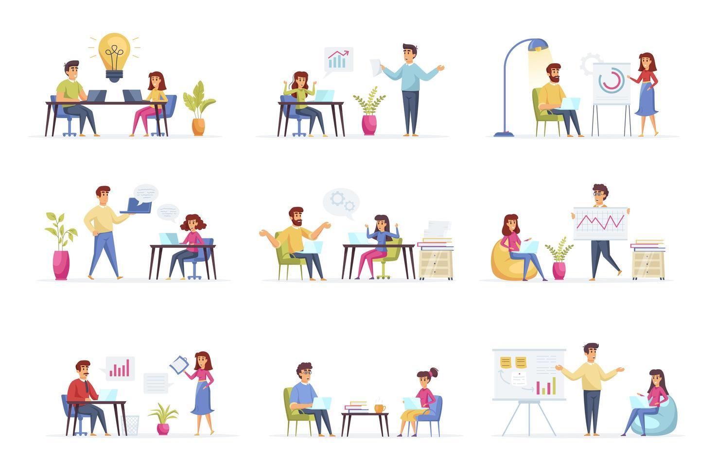 zakelijke bijeenkomst scènes bundel vector