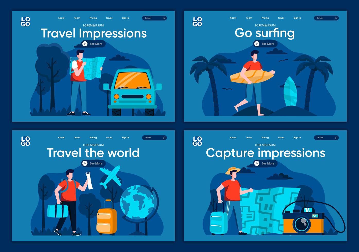 reis de wereld rond, platte bestemmingspagina's ingesteld vector