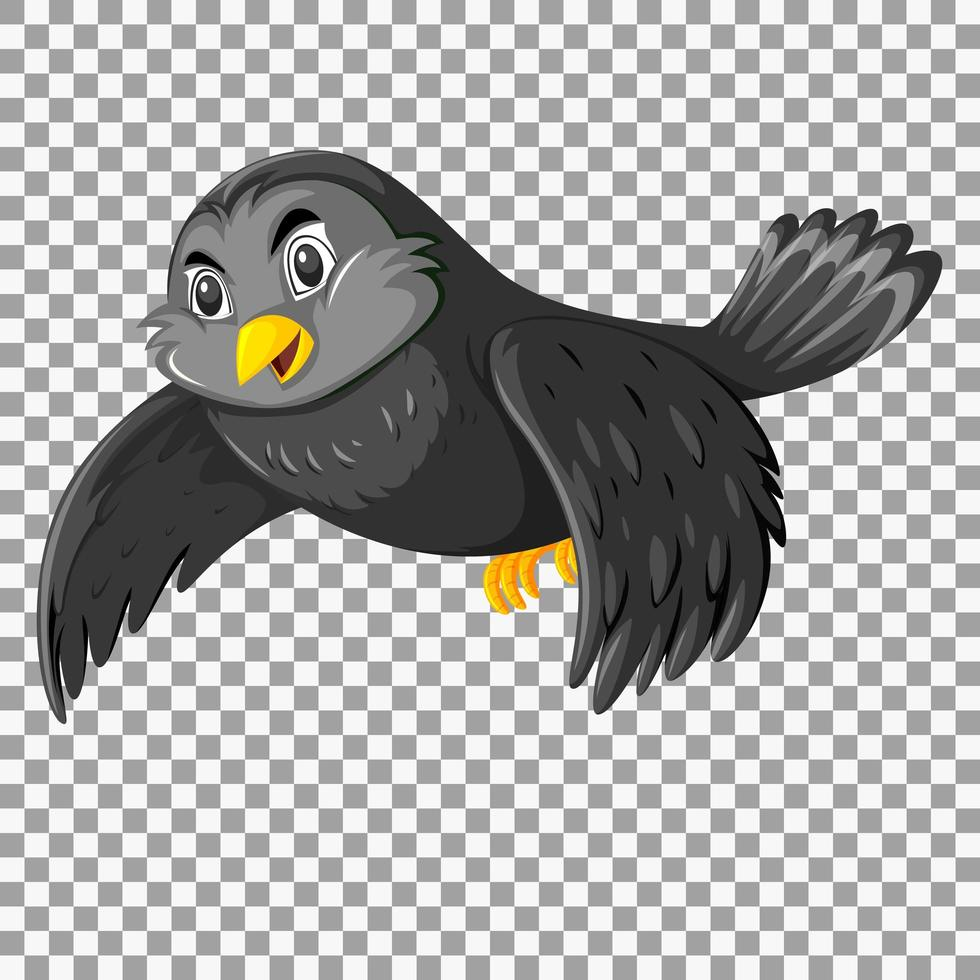 schattige zwarte vogel stripfiguur vector