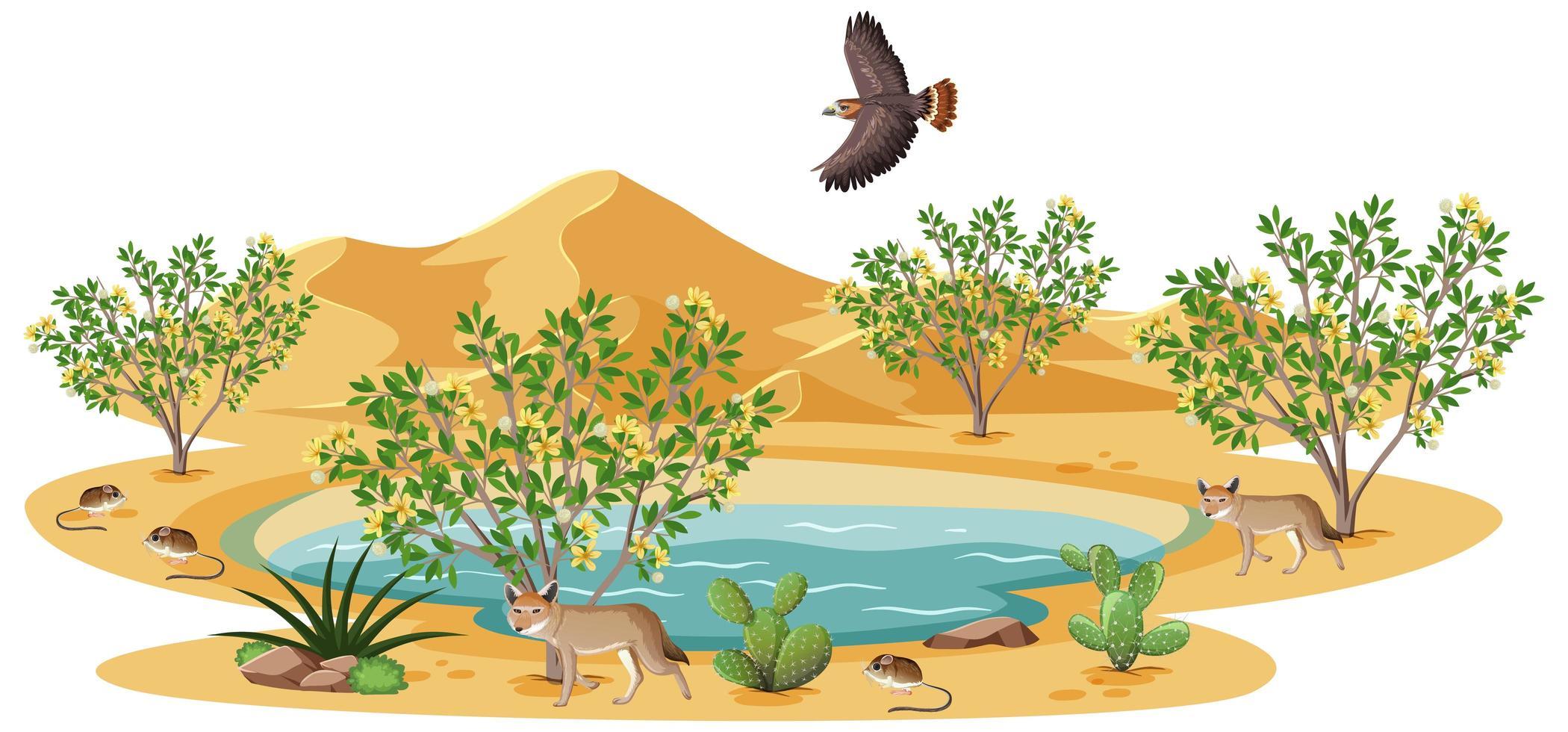 creosoot bush plant in wilde woestijn met vogel vector