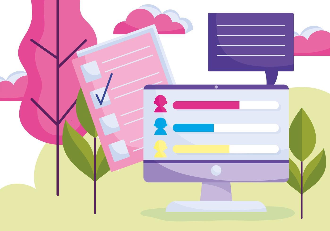 online stemmen en onderzoeksconcept vector