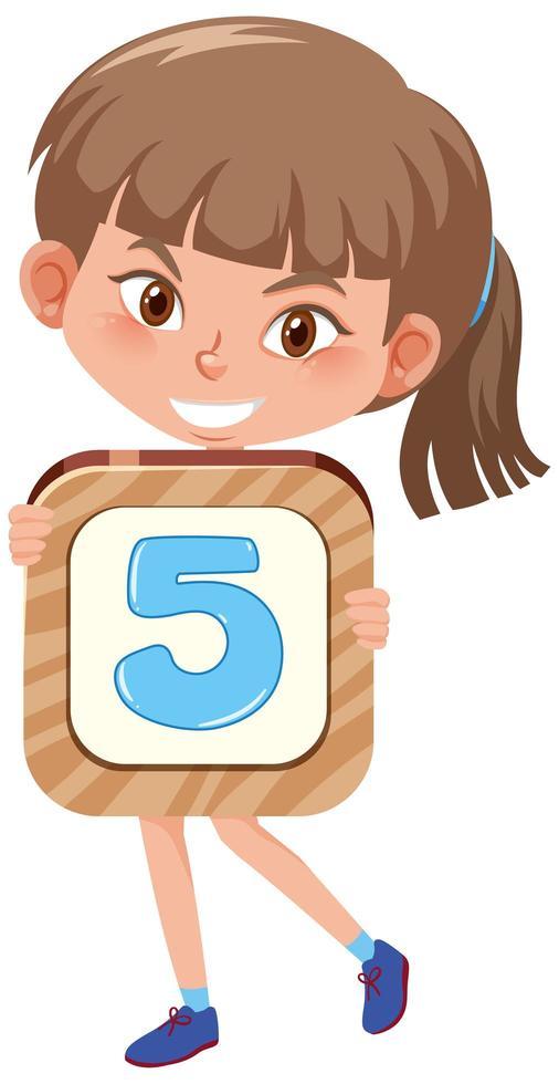 student meisje met het nummer stripfiguur geïsoleerd op een witte achtergrond vector