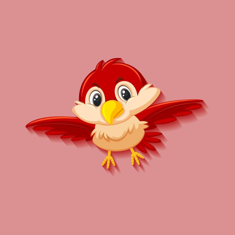 schattige rode vogel stripfiguur vector
