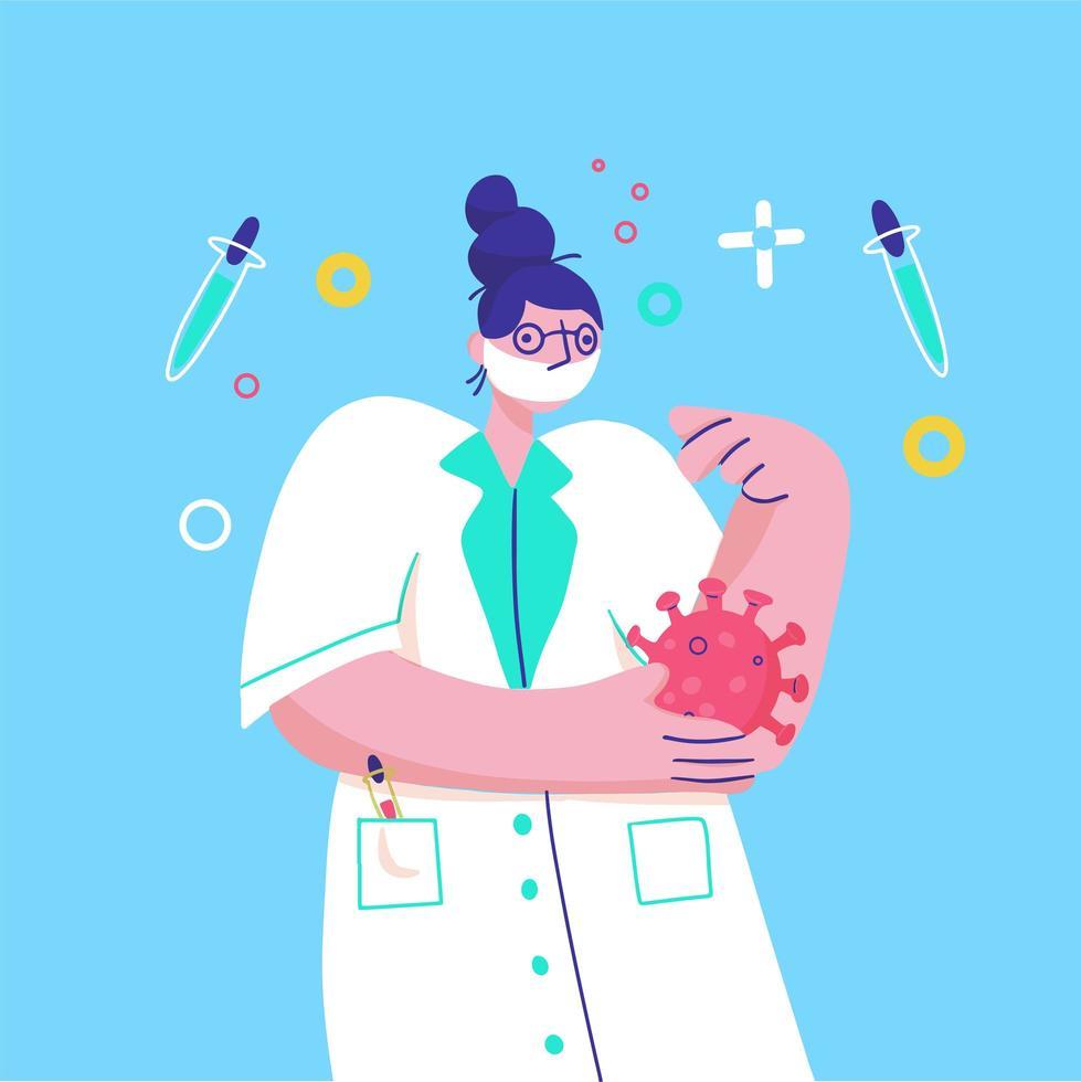 dokter draagt gezichtsmasker en onderzoekt het virus vector