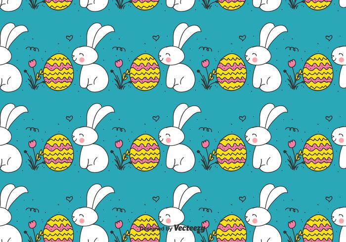 Doodle Easter Bunny And Egg Patroon vector