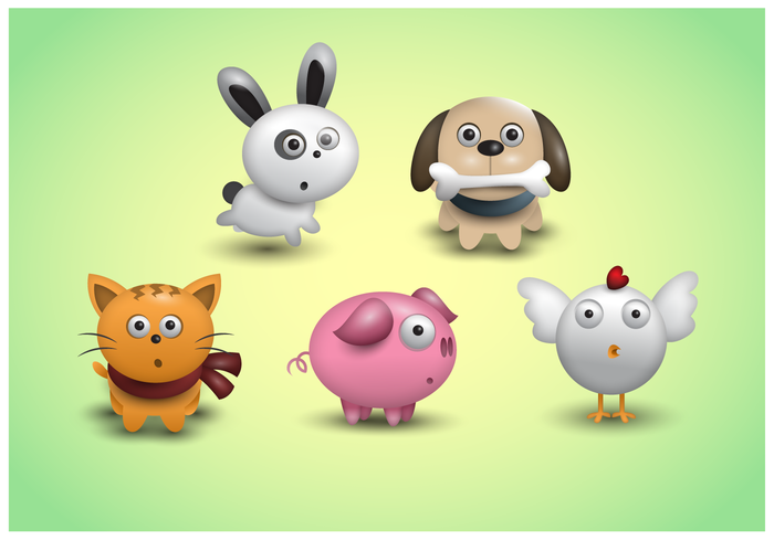 Gratis leuke Animal Icons Vector