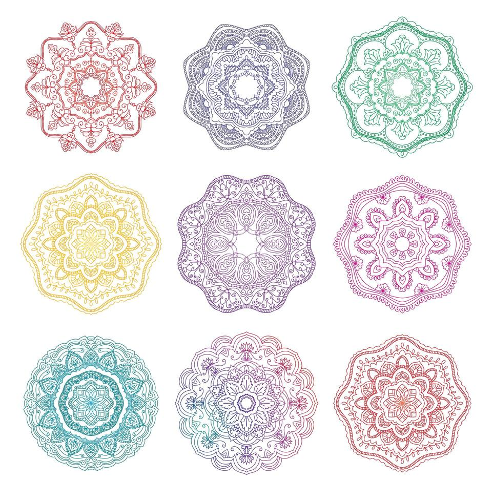 mandala ronde bloemen ornament set vector