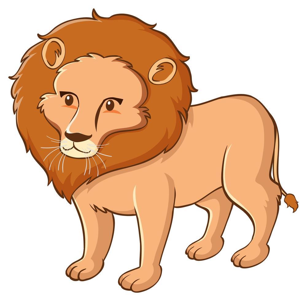 wilde leeuw op witte achtergrond vector