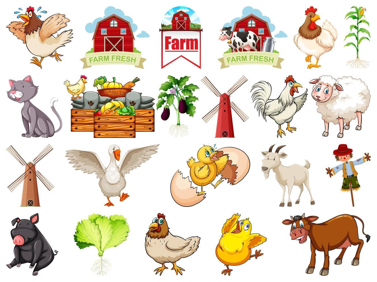 set boerderijdieren vector