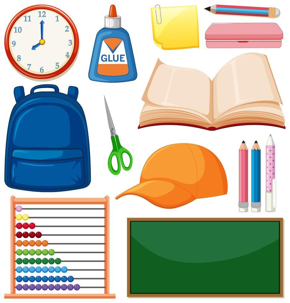 set school-objecten vector