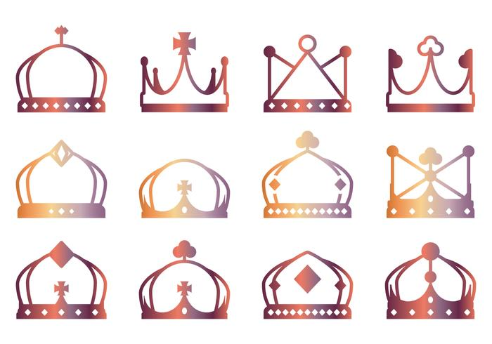 Lineart Crown Icons vector