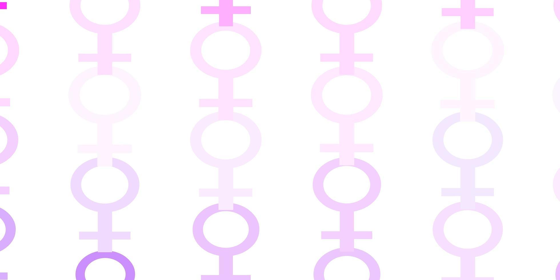 lichtpaars en roze patroon met feministische elementen. vector