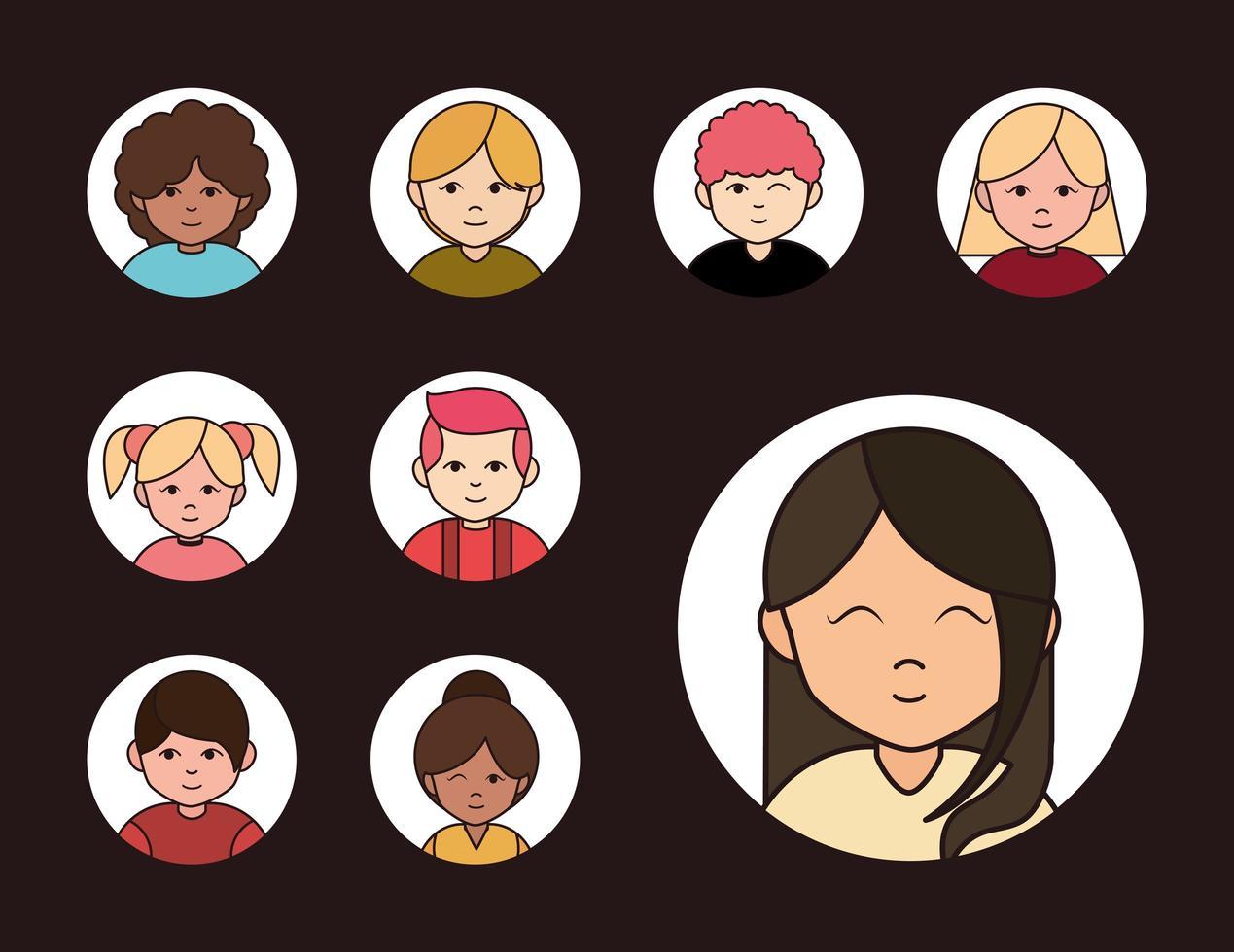 set van diverse mensen avatar pictogrammen vector