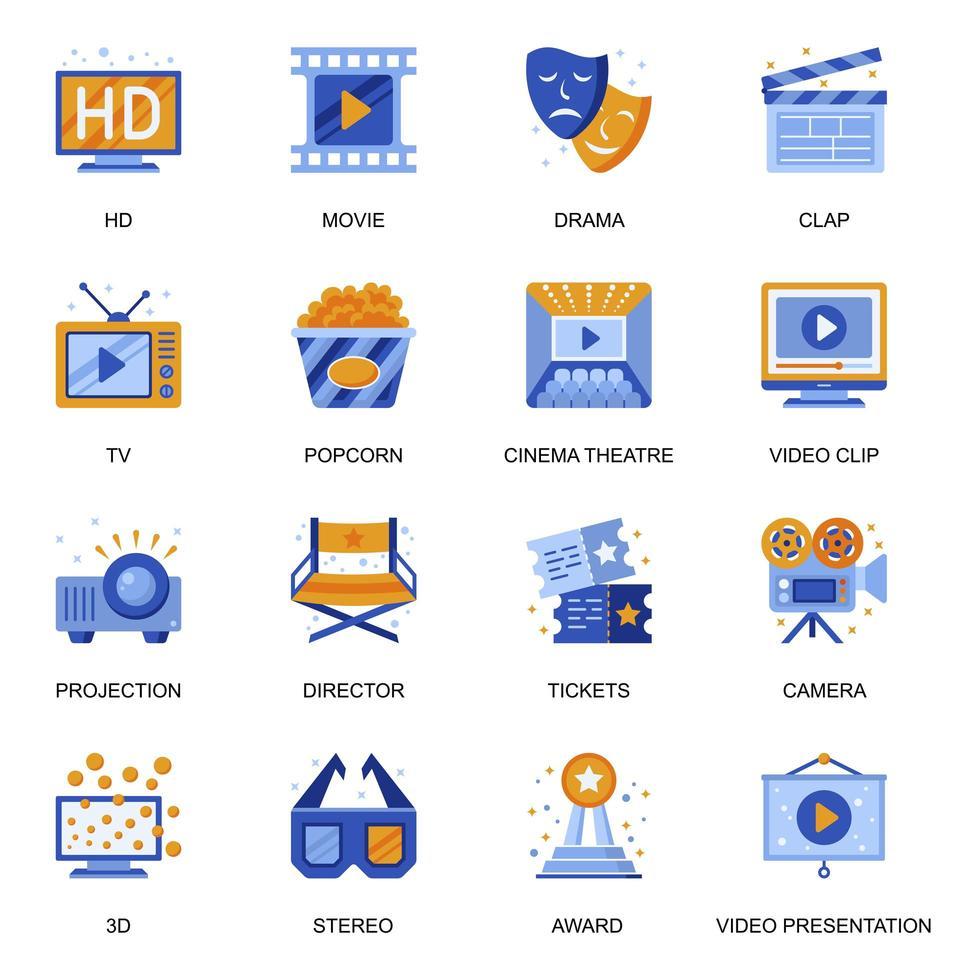 bioscoop pictogrammen instellen in vlakke stijl. vector