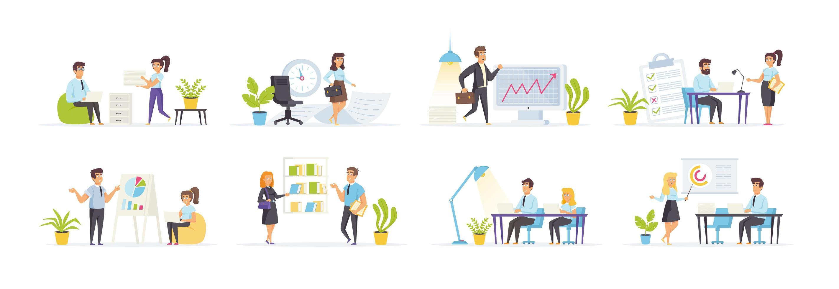 kantoorbeheer ingesteld met personenpersonages vector