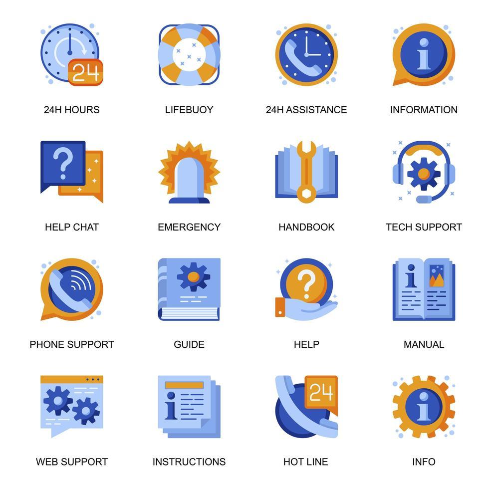 webondersteuningspictogrammen in vlakke stijl. vector