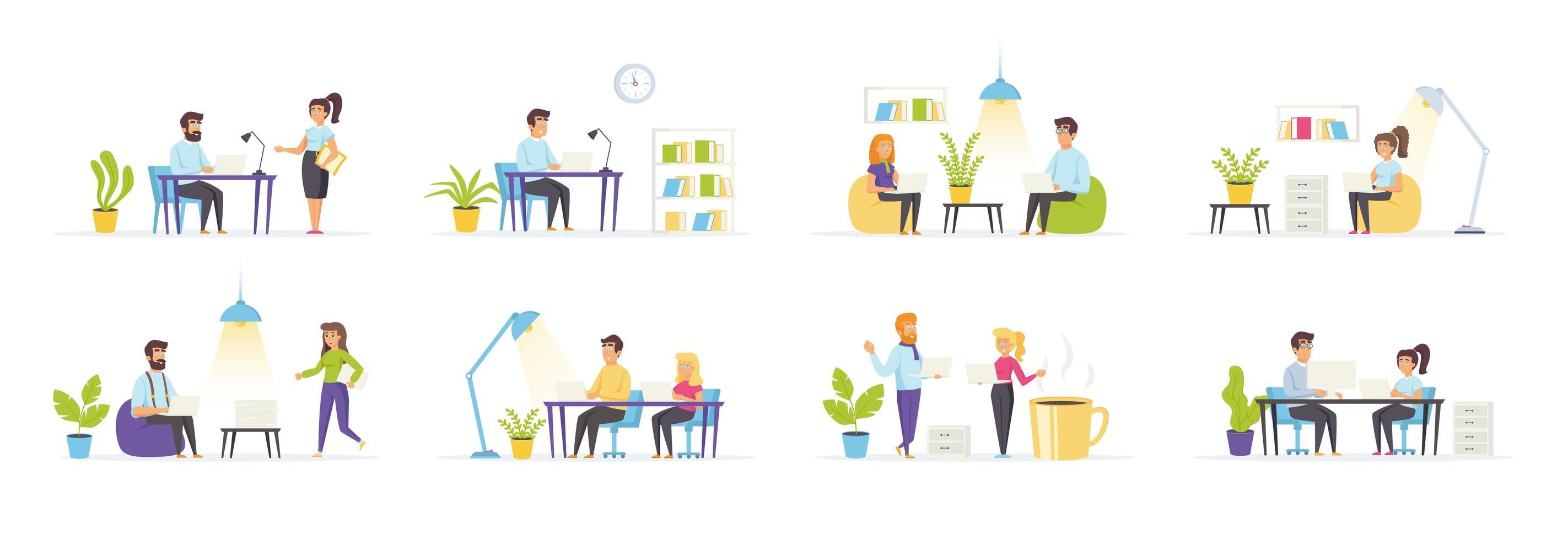 coworking-ruimte met personagekarakters vector