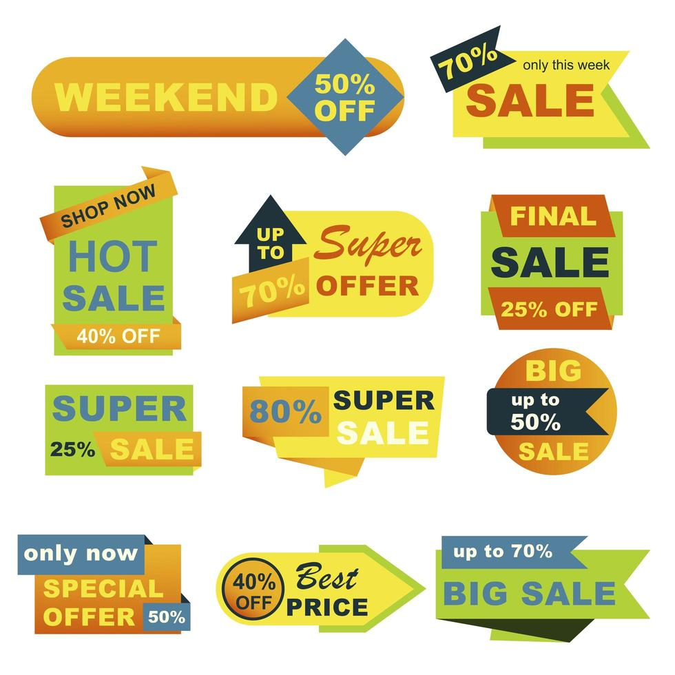 grote verkoop badges set vector