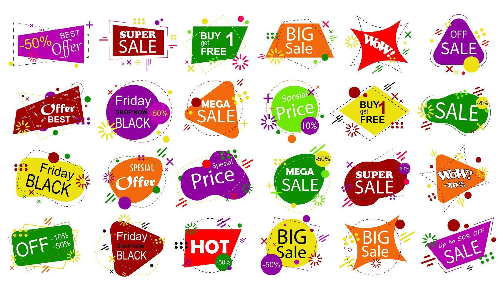 set verkoop banner badge sjablonen. vector