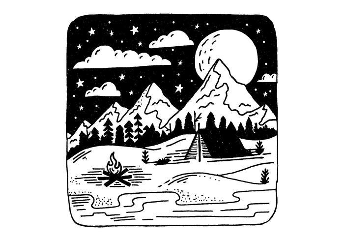 Mountain Camping Badge Vector