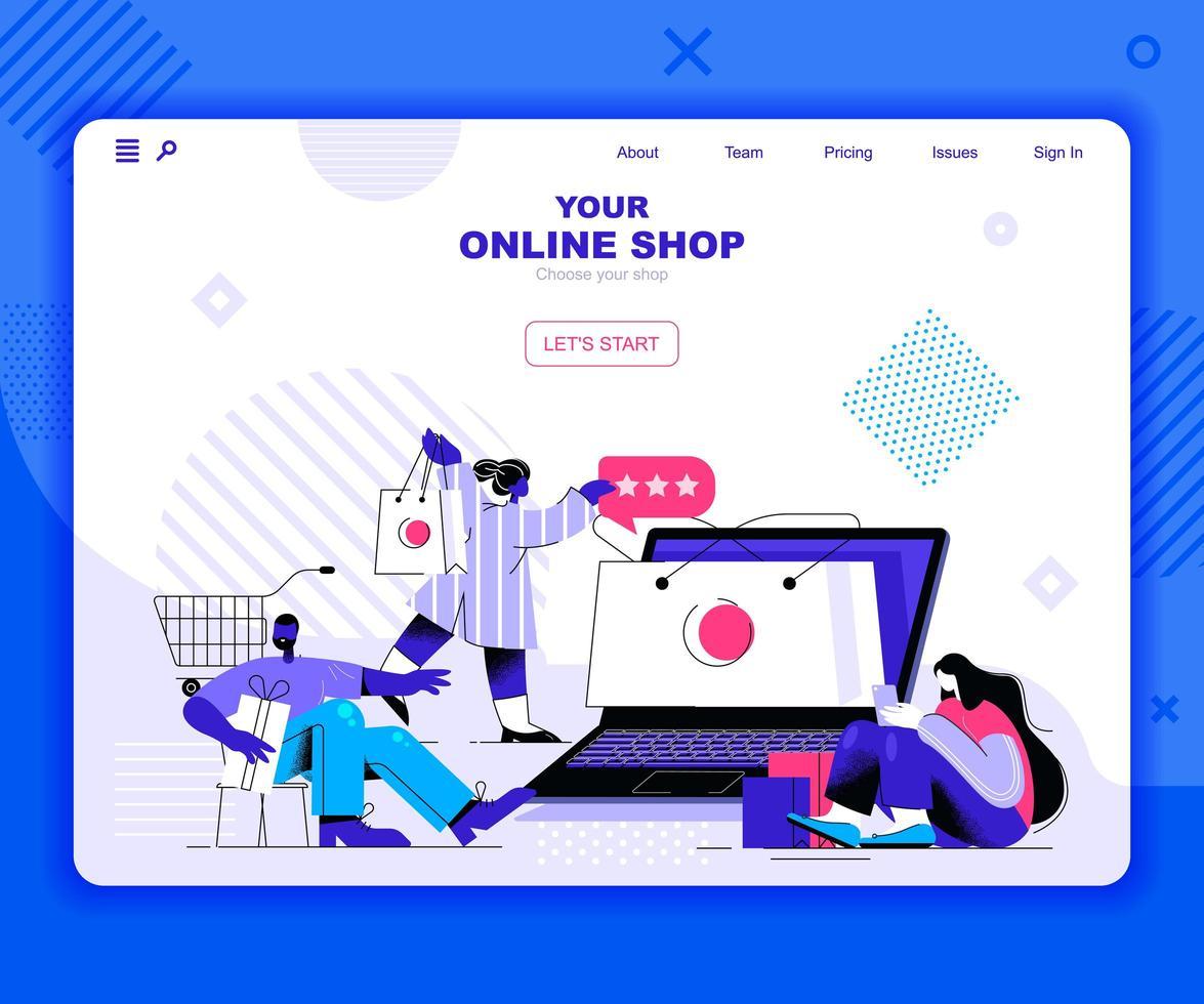sjabloon voor bestemmingspagina's voor online winkelen vector