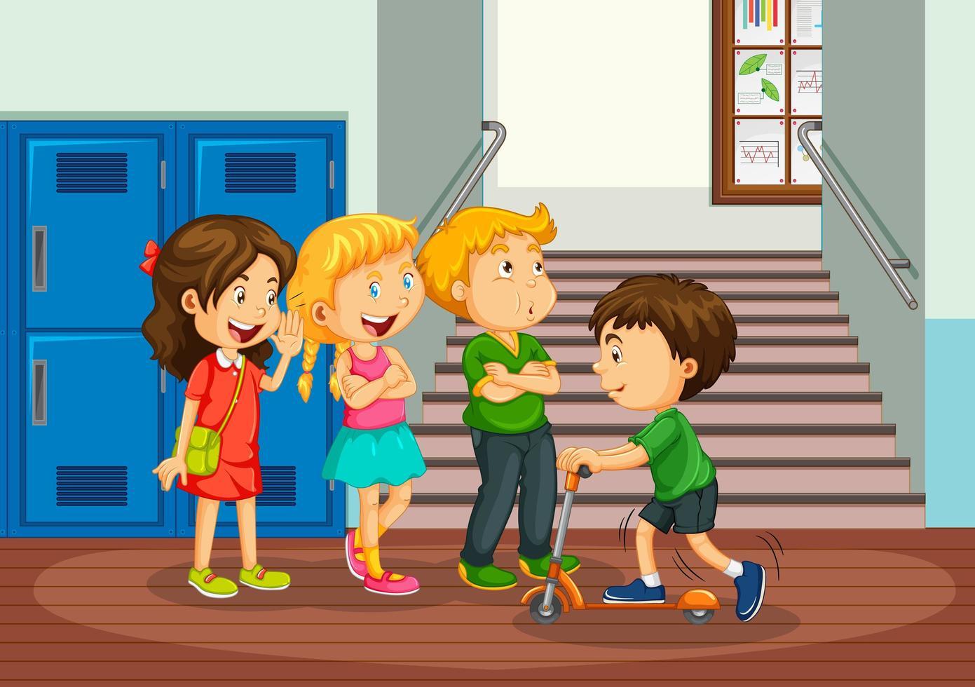 gelukkige kinderen in de gang van de school vector