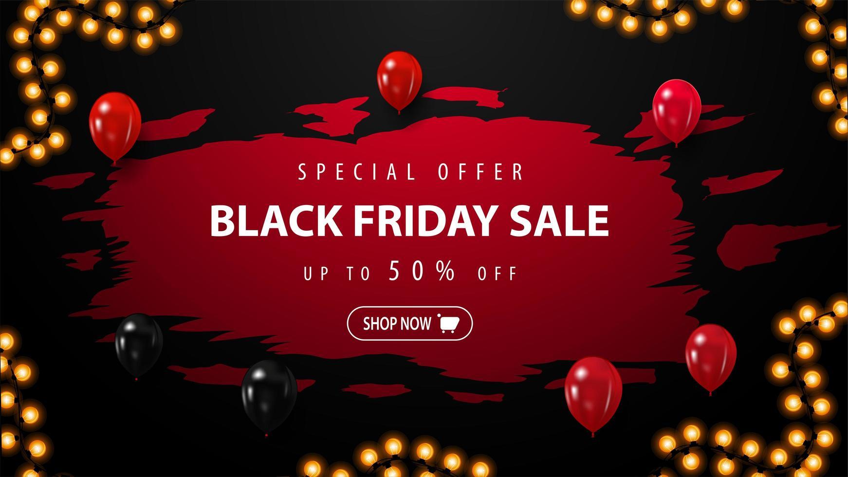 zwarte vrijdag verkoop banner met ballonnen vector