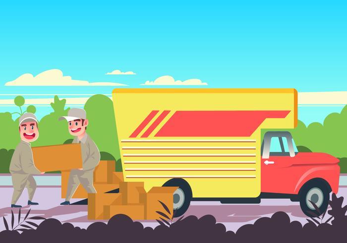 Laden of lossen Verhuiswagen Vector