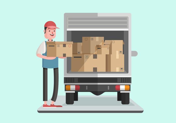 Moving Van Met Courier Man Vector Illustration