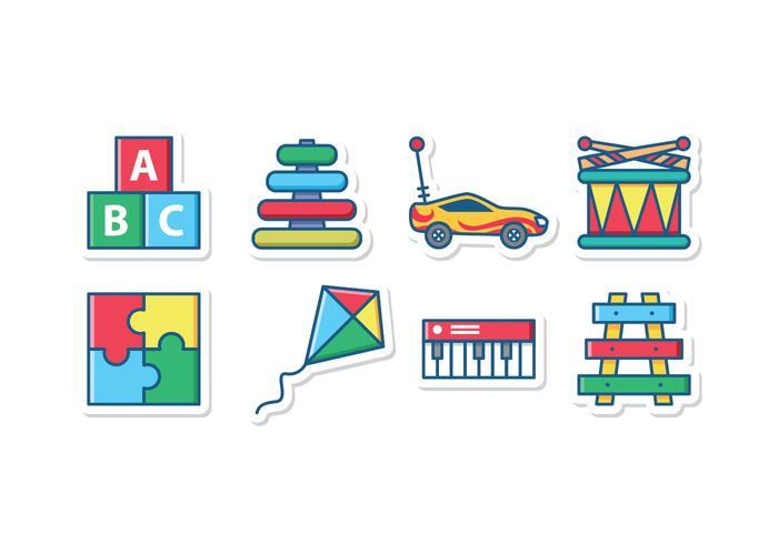 Kid speelgoed icon set vector