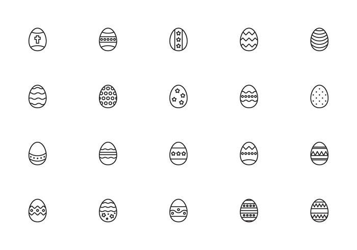 Liner Easter Eggs Vectors