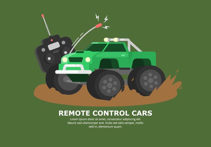 Bright Green Muddy RC Car Vector