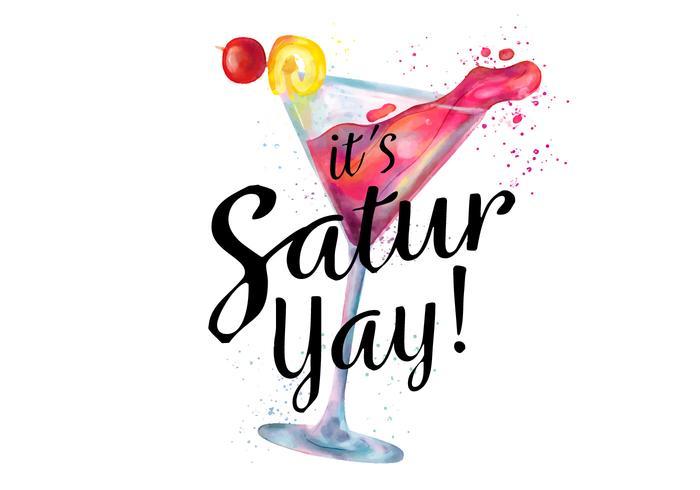 Aquarel roze cocktail drinken met Splash To Saturday Night vector