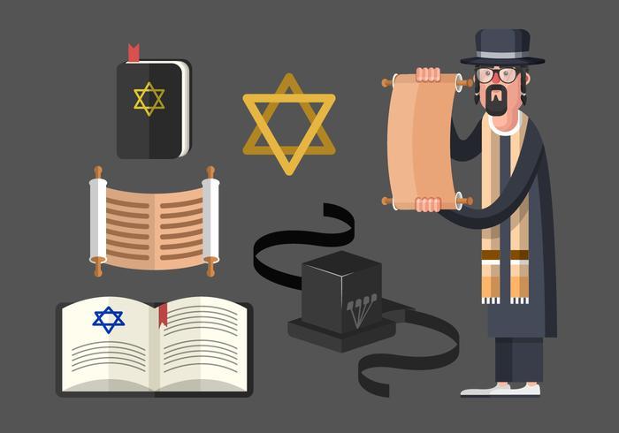 Tefillin En Joodse traditionele symbolen Vector Set