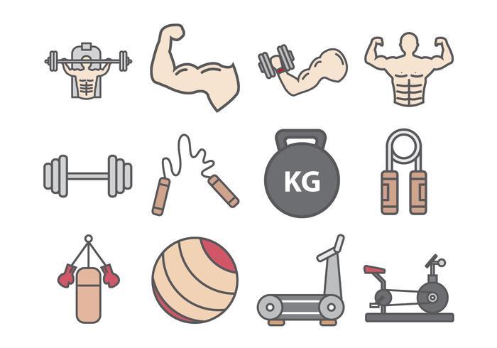 Fitness En Bodybuilder Icon vector